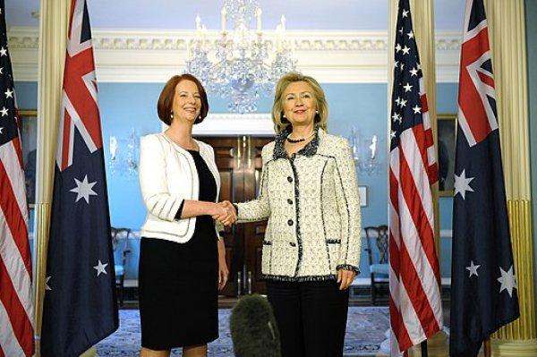 Secretary Clinton Shakes Hands With Australian Prime Minister Gillard 5510083265