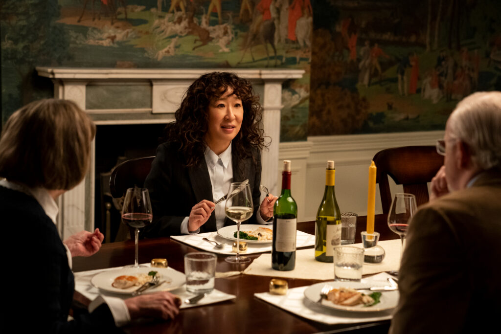 """The Chair (L To R) Cynthia Macae s Mrs. Whittenden, Sandra Oh as Ji-Yoon, and David Morse as Dean Larson in Episode 3 Of """"The Chair."""" Picture: Eliza Morse/Netflix © 2021"""