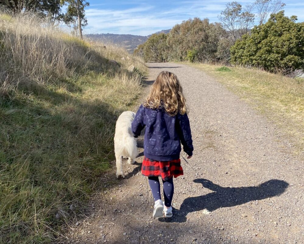 Kat on a walk with her four-year-old daughter