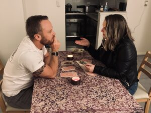 Gary receives a tarot reading. Picture: Supplied
